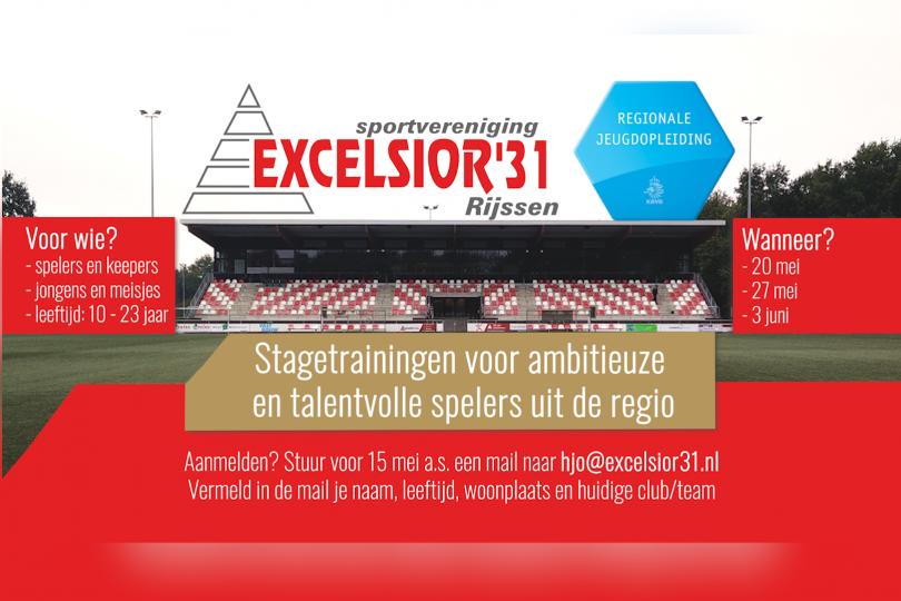 Foto bij Excelsior'31 organiseert stagetrainingen voor ambitieuze en talentvolle spelers uit de regio